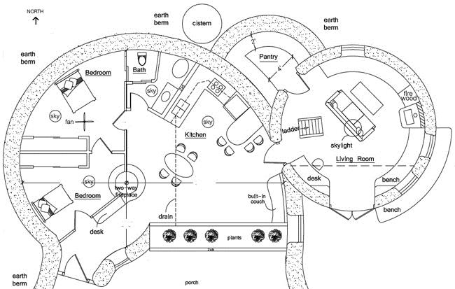 Custom earthbag homes for Earth homes floor plans